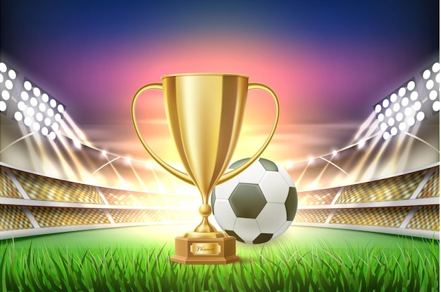 Football soccer stadium with ball golden cup trophy at realistic green grass field playground