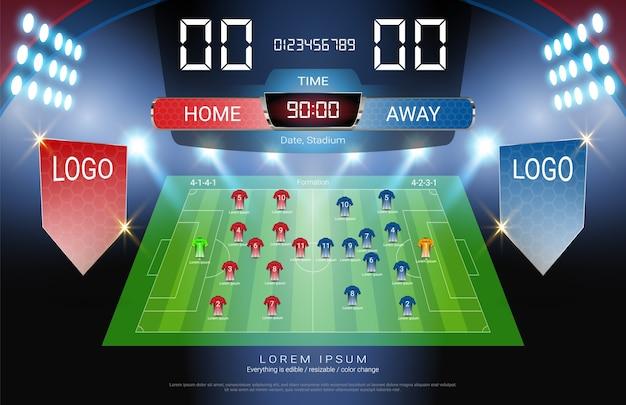 Football or soccer starting lineup scoreboard.