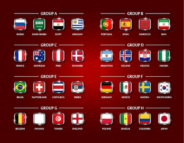 Football or soccer team group set. square glass covered of national flag