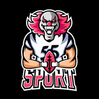 サッカースポーツとeスポーツゲームのマスコットのロゴ