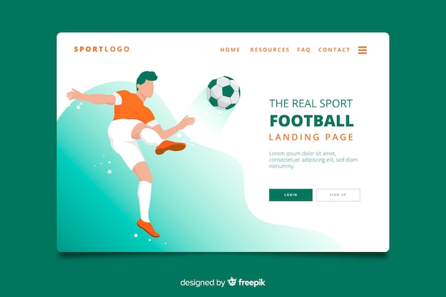 Football sport landing page