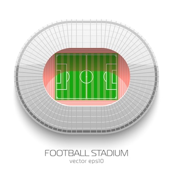 Football stadium aerial view on white background