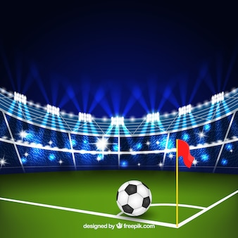 Football stadium background in realistic style