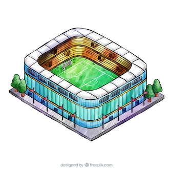 Football stadium in isometric style