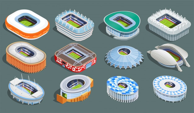 Football stadium isometric set