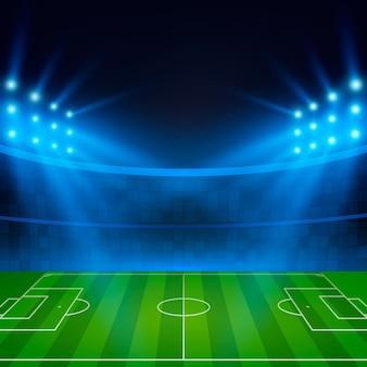 サッカースタジアム。サーチライトに照らしたサッカー場。サッカーワールドカップ。