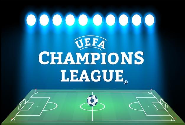 サッカー場のボールと抽象的なキラキラ光のサーチライトを備えたサッカースタジアム Premiumベクター