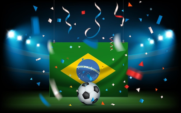Football stadium with the ball and flag of brazil