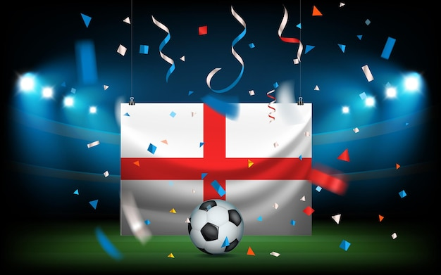 Football stadium with the ball and the flag. england wins