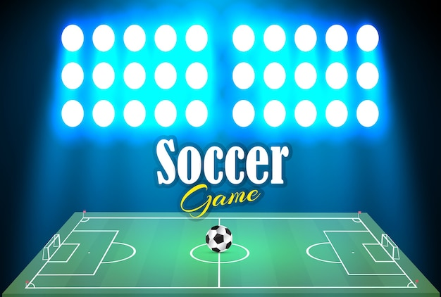 サッカー場とサーチライトにボールがあるサッカースタジアム