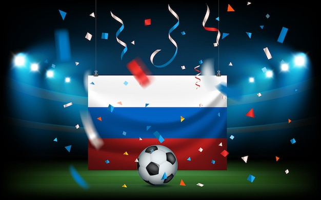 Football stadium with the ball and russian flag. russia wins