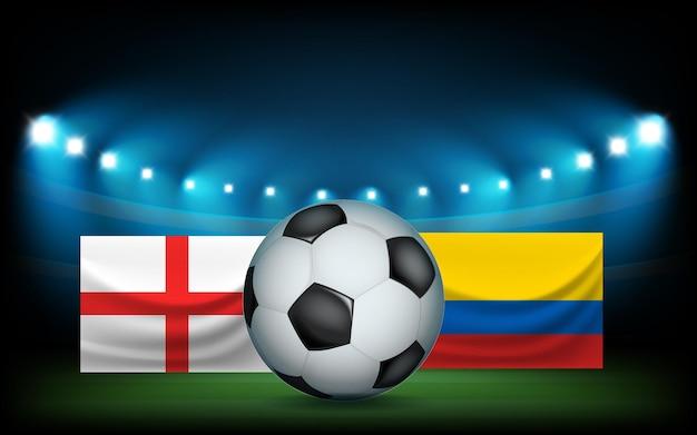 공 및 플래그와 함께 축구 경기장입니다. 잉글랜드 vs 컬럼비아