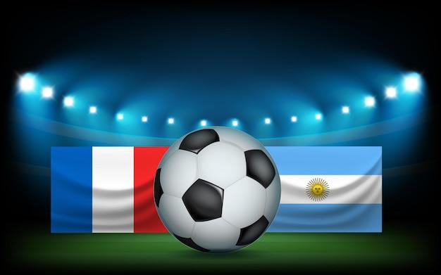 공 및 플래그와 함께 축구 경기장입니다. 프랑스 vs 아르헨티나