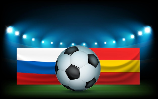 공 및 플래그와 함께 축구 경기장입니다. 러시아 vs 스페인