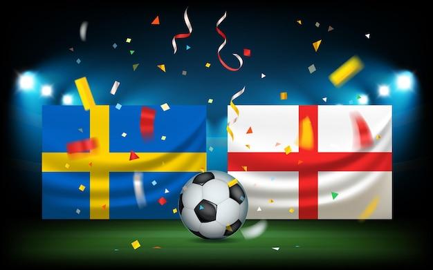 ボールと旗のあるサッカースタジアム。スウェーデン対イングランド。試合の日