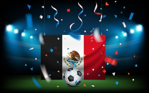 ボールとメキシコの旗のあるサッカースタジアム。ビバメキシコ