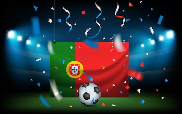 ボールとポルトガルの旗のあるサッカースタジアム。ビバポルトガル