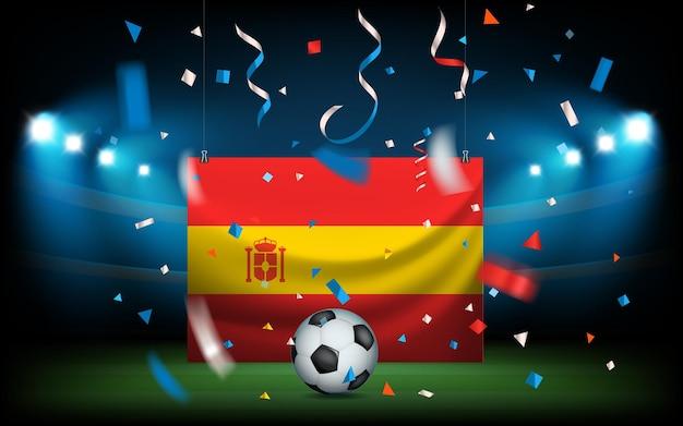 ボールとスペイン国旗のあるサッカースタジアム。ビバスペイン