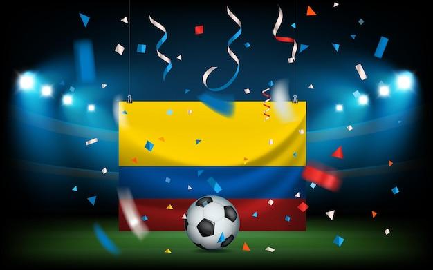 Футбольный стадион с мячом и флагом. колумбия побеждает