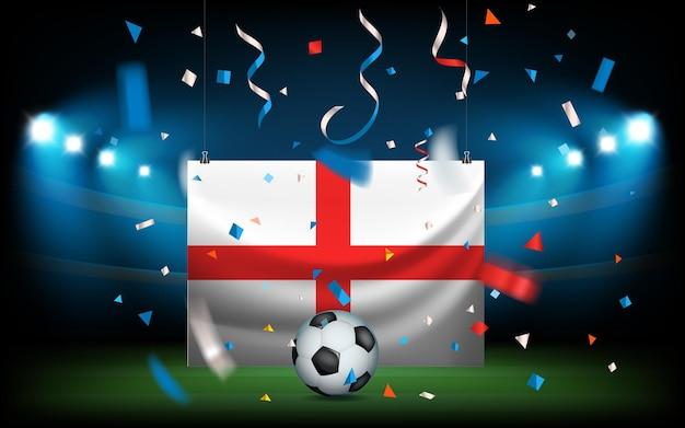 Футбольный стадион с мячом и флагом. англия побеждает