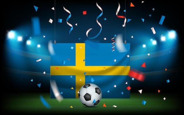 Футбольный стадион с мячом и флагом. швеция побеждает