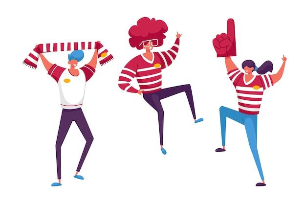サッカーサポーターファンのキャラクターがスタジアムで試合を応援し、祝う