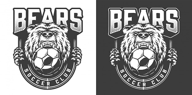 Football team angry bear mascot emblem