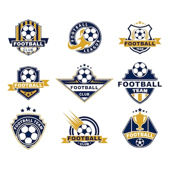Football team or club flat labels set