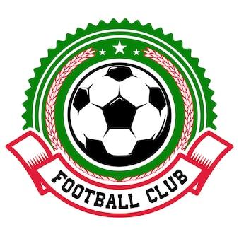 サッカーチーム。サッカーボールのエンブレムテンプレート。ロゴ、ラベル、記号、バッジの要素。図
