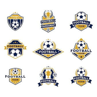 Football team emblems templates set