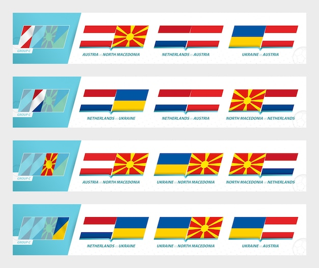 Football team games in group c of football european tournament 2020-21. sport vector icon set.