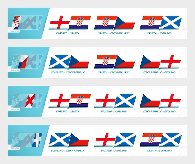 Football team games in group d of football european tournament 2020-21. sport vector icon set.