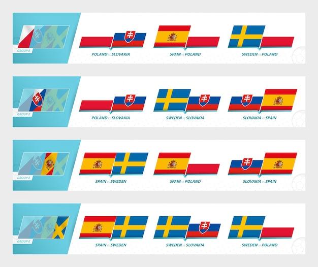 Football team games in group e of football european tournament 2020-21. sport vector icon set.