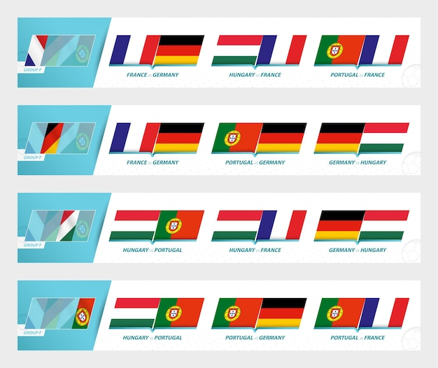 Football team games in group f of football european tournament 2020-21. sport vector icon set.