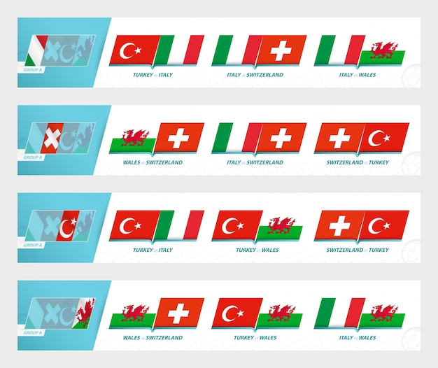 Игры футбольной команды в группе а европейского футбольного турнира 2020-21. спортивный векторный символ установлен.