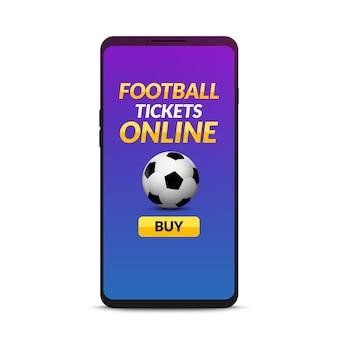 Football ticket online booking. soccer online mobile ticket buy on smartphone.