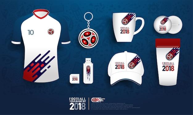 Football tournament 2018 souvenir. soccer gift shop pattern template
