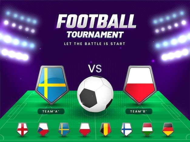경기장 보기에서 스웨덴 vs 폴란드의 참가 팀 플래그 방패와 축구 토너먼트 개념.