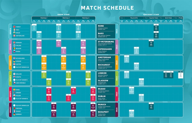 Football tournament final stage match schedule, template