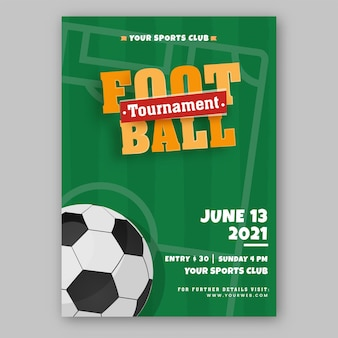 Football tournament flyer or poster design in green color