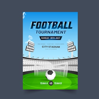 Football tournament poster design with stadium view and participate team a vs b.