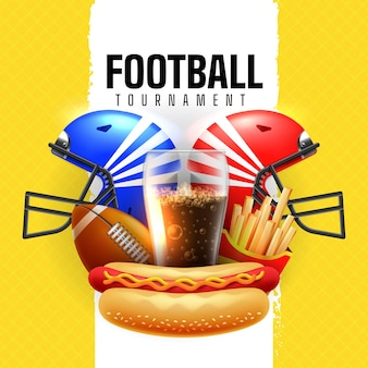 Football tournament with helmets and junk food illustration