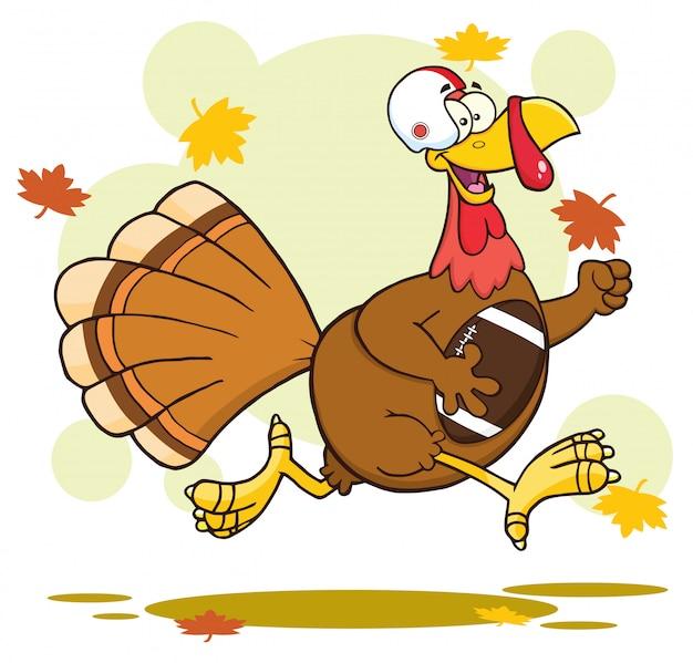Football turkey bird cartoon character running in thanksgiving super bowl