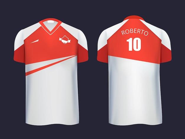 サッカーユニフォームテンプレートの正面図と背面図。 spor、サッカー用ユニフォーム、スポーツウェアのモデル。図