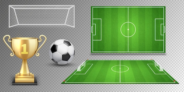 Football vector elements. soccer ball golden cup green fields goals.