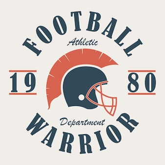 Football warrior  tshirt graphics with helmet print for sportswear apparel clothes