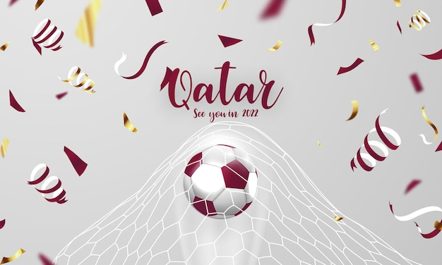 Football world cup background for banner, soccer championship 2022 in qatar