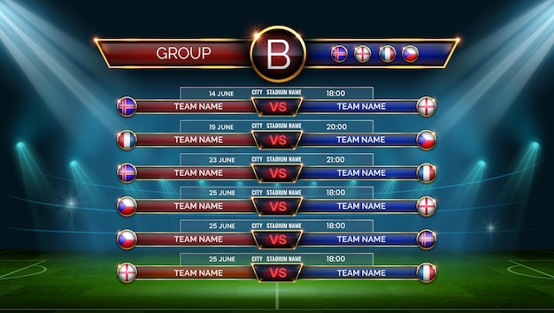 サッカーワールドカップのスケジュール。グループでの試合のサッカーカレンダー。スタジアム、ベクトルテンプレートの日付、場所、国のフラグとテーブル。サッカー選手権のフィールド照明