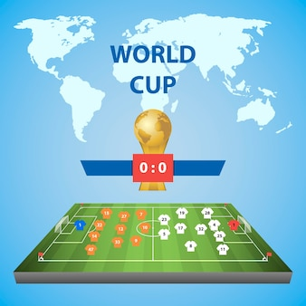 Football world cup. soccer field with player placement.  illustration on blue background.