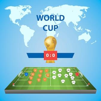 サッカーワールドカップ。選手配置のサッカー場。青い背景のイラスト。